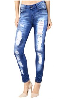 Skinny Blue Medium Wash Distressed Denim