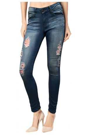 Skinny Blue Medium Wash Ripped Denim