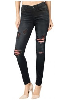 Skinny Black Medium Wash Distressed Denim