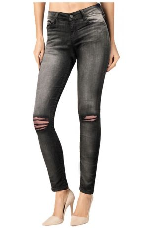 Skinny Grey Medium Wash Ripped Denim