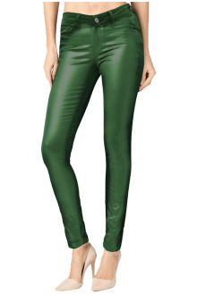 Skinny Green Coated Denim