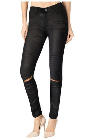 Skinny Moto Black Coated Denim