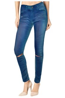 Skinny Moto Blue Coated Denim