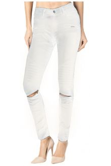 Skinny Moto White Coated Denim