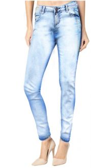 Slim Light Wash Blue Denim with Silver Paint