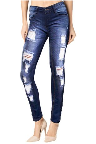 Slim Medium Blue Wash Distressed Denim
