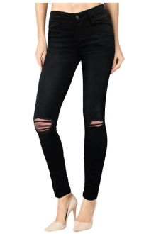 Slim Dark Wash Black Ripped Denim