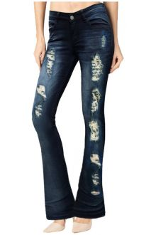 Boot-Cut Distressed Dark Wash Blue Denim