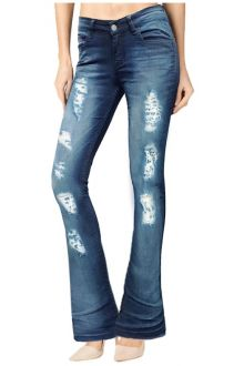 Boot-Cut Distressed Medium Wash Blue Denim