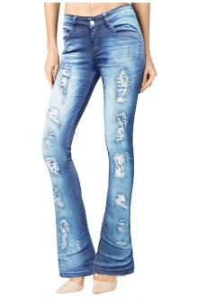 Boot-Cut Distressed Light Wash Blue Denim