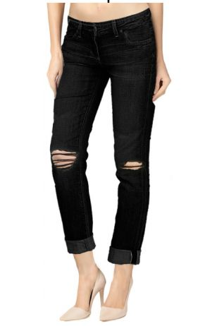 Boyfriend Ripped dark Wash black Denim