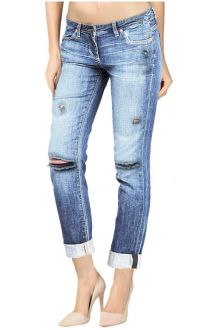 Boyfriend Ripped Light Wash Blue Denim